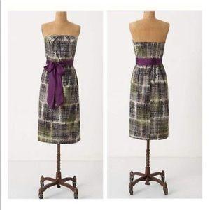 Anthropologie Fitted Strapless Sheath Dress w Sash